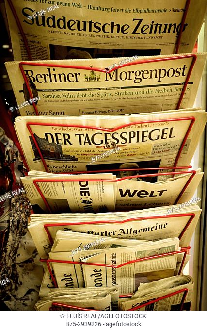 German newspapers in news-stand. Berlin, Germany