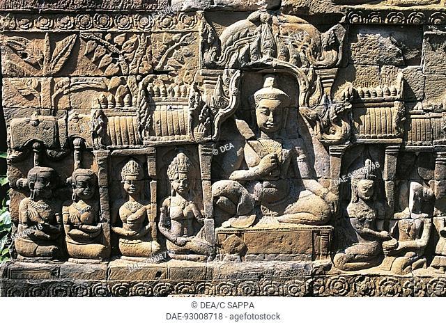 Cambodia - Angkor (UNESCO World Heritage List, 1992). Angkor Wat, 1150. Bas-relief at Leper King Terrace