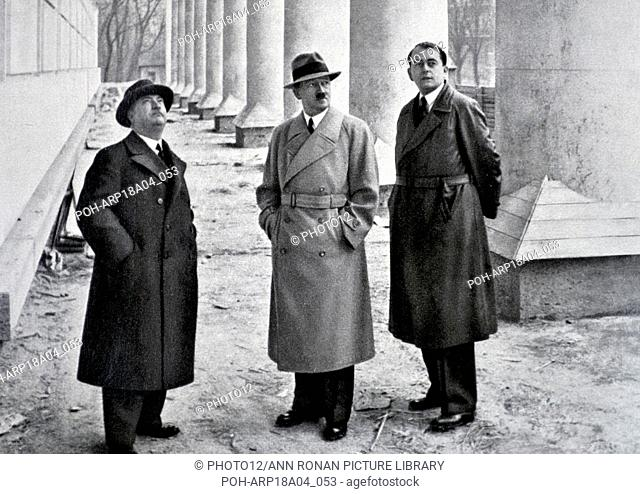 Adolf Hitler 1889-1945. German politician with his architects professor Gall and Albert Speer in Berlin 1937 World History Archive