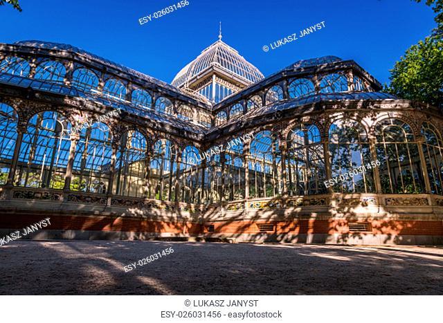 crystal palace (palacio de cristal) in retiro park,madrid,spain