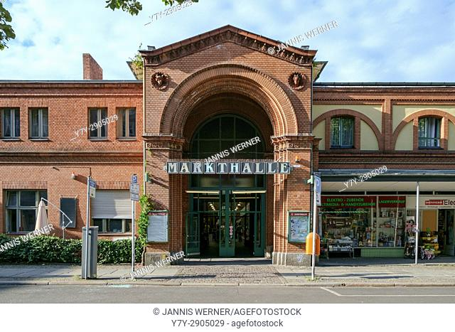 Entrace of historic Arminiushalle market building in Berlin-Moabit, Germany in summer