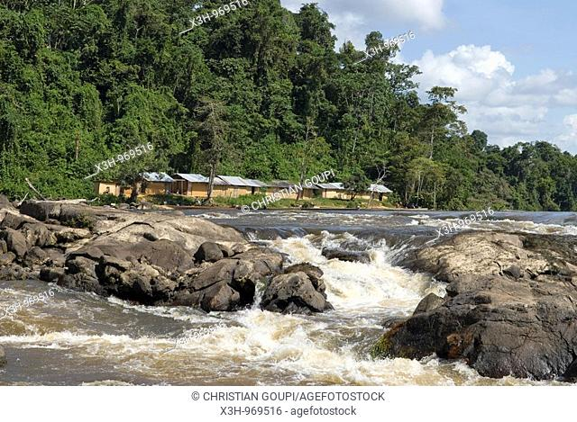 amerindian camp on the top of Para falls on Caura river,state of Bolivar,Bolivarian Republic of Venezuela,South America