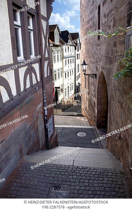 Steile Strasse street, Reitgasse, historic half-timbered houses, historic centre, Marburg, Hesse, Germany, Europe