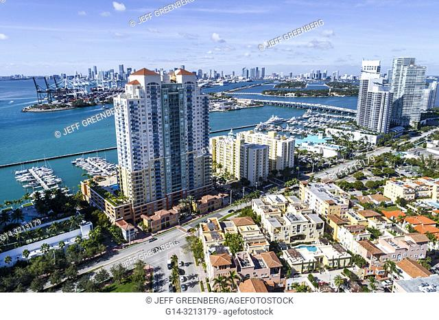 Florida, Miami Beach, aerial view, Icon South Beach Luxury Condos, high rise condominium buildings, Murano Grande at Portofino, The Yacht Club at Portofino