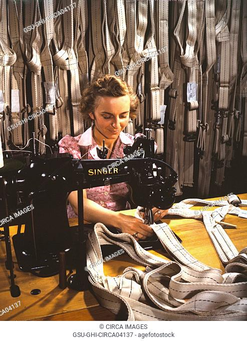 Mary Saverick Stitching Harnesses during WWII, Pioneer Parachute Company Mills, Manchester, Connecticut, USA, William M. Rittase for Office of War Information