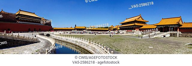 Beijing, China - Panorama view at Forbidden City in the daytime