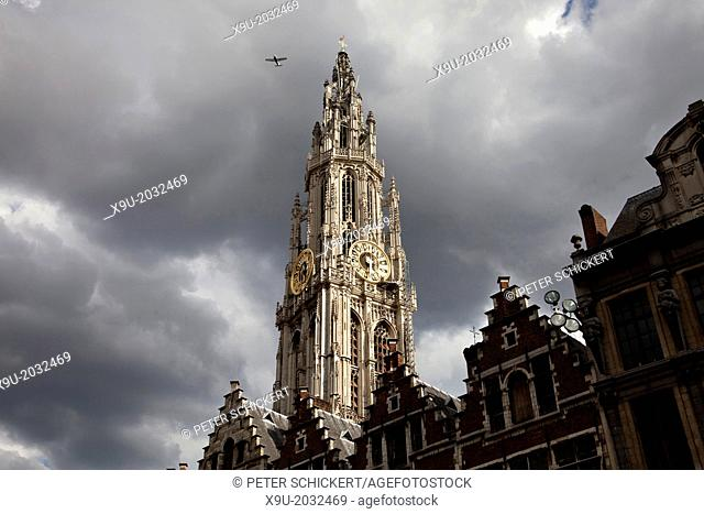 church tower of The Onze-Lieve-Vrouwekathedraal (Cathedral of our Lady) and central Antwerp, Belgium, Europe