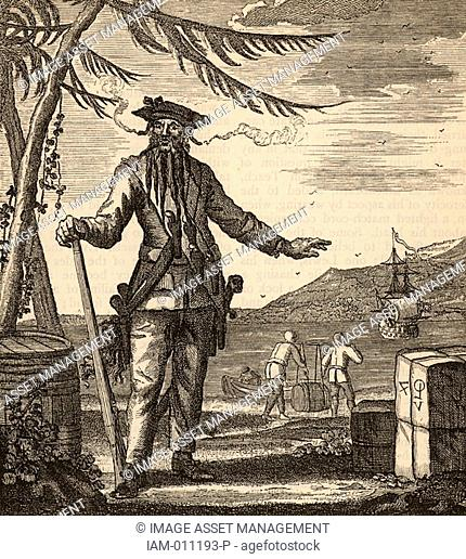 Blackbeard, the popular name of Edward Teach or Thatch or Drummond - 1680-1718 notorious English pirate who subjected the Carribean Sea to a reign of terror...