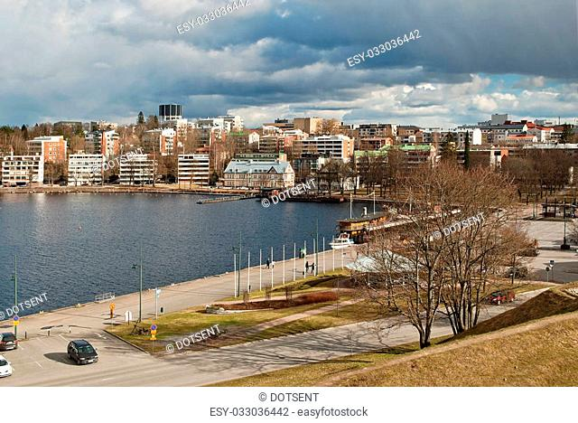 The Finnish city of Lappeenranta on the shore of lake Saimaa on a cloudy spring day