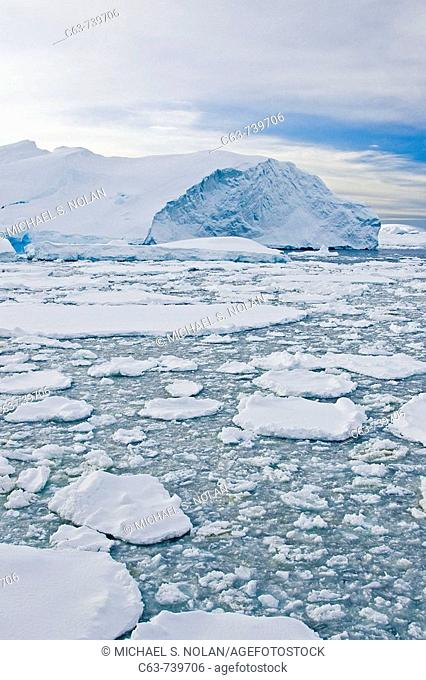 Broken first year floe ice mixed with brash ice below the Antarctic Circle around the Antarctic Peninsula during the summer months  More icebergs are being...