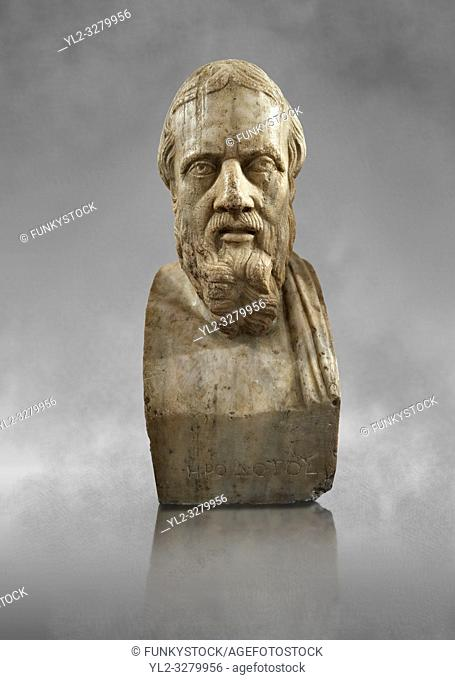 Roman marble sculpture bust of Herodotus, 3rd Century AD from an original early 4th century BC Hellanistic Greek original, inv 6146, Museum of Archaeology