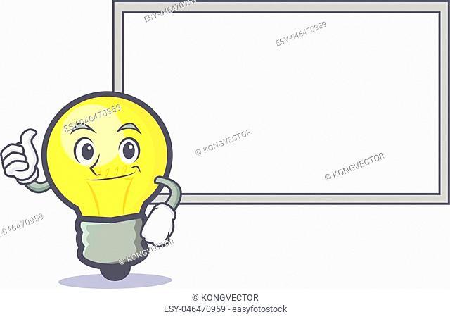 Okay light bulb character cartoon with board vector illustration