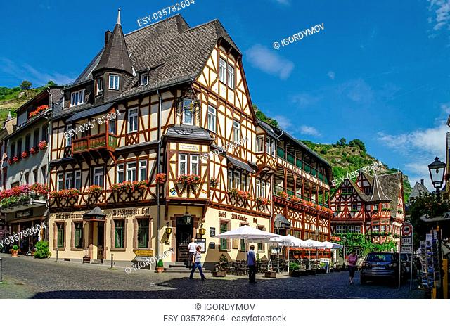 Bacharach, Germany - July 9, 2011: Medieval village Bacharach. Traditional frameworks (Fachwerk) houses in city streets. Rhine valley, Germany