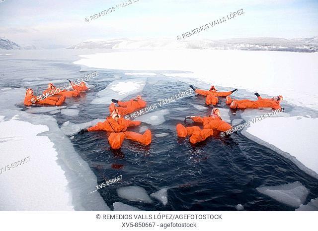 Norway, Kirkeness, near to the Russian border Jarfjord Fiord Frozen water swimming