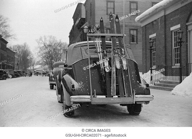 Skis on Ski Rack attached to Car Trunk, Woodstock, Vermont, USA, Marion Post Wolcott for Farm Security Administration, March 1940