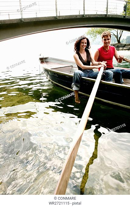 couple, rowing, laughing, boat, people, portrait
