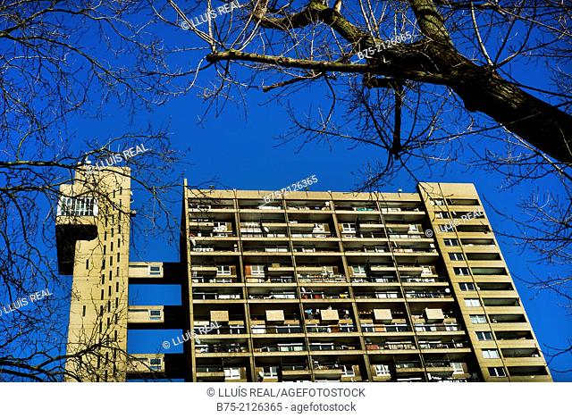 Trellick Tower, 31-storey block of flats with blue sky in North Kensington, Royal Borough of Kensington and Chelsea, London, England