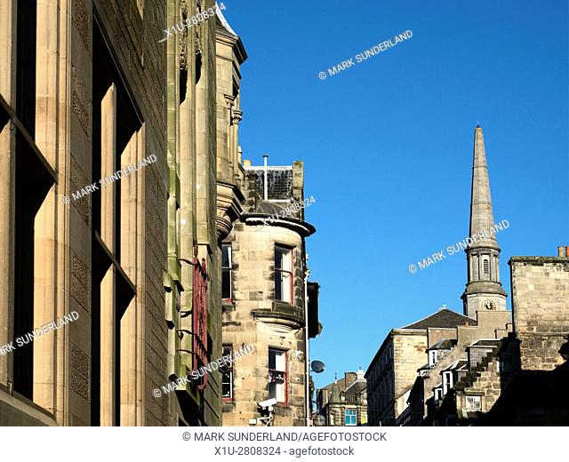 Looking along St Margaret Street to the Old Guildhall and Linene Exchange Dunfermline Fife Scotland