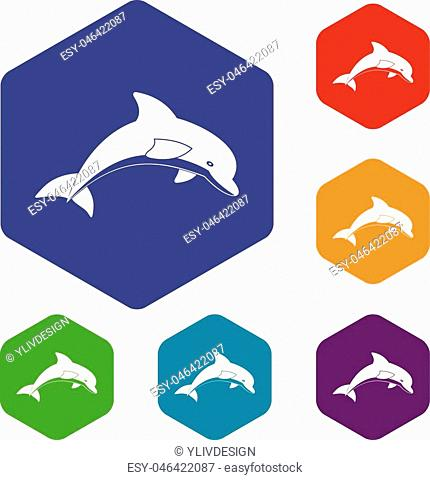 Jumping dolphin icons set hexagon isolated vector illustration