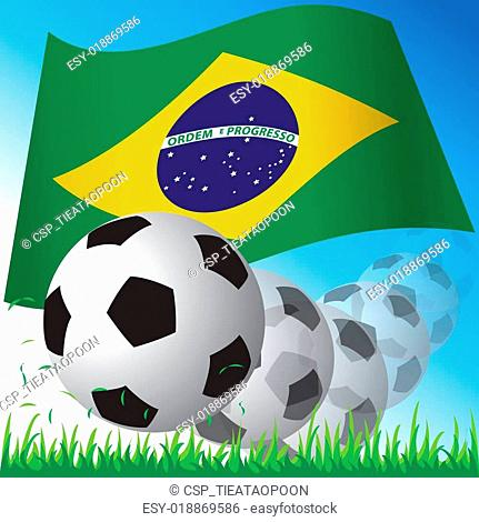 Flag of Brazil with ball vector