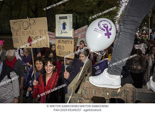 Women hold the prostest in Brussels, Belgium on 28.09.2017 to demand equal abortion rights in all European countries. A rally was organized to support women in...