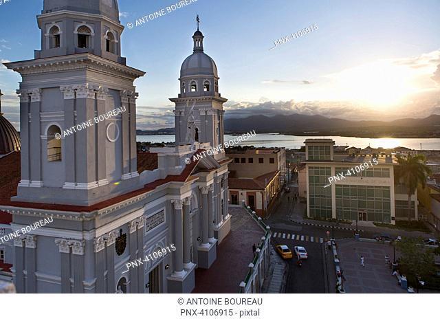 Cathedral Nuestra Senora de la Asuncion at sunset, main cathedral in Santiago de Cuba, Cuba