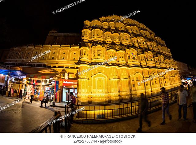 Hawa Mahal exteriors lit up at night in the twilight. Jaipur, Rajasthan. India