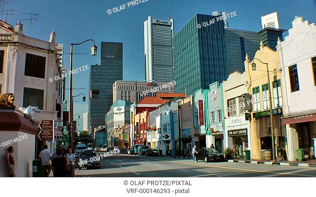 Shop houses at South Bridge Road in Singapore Chinatown