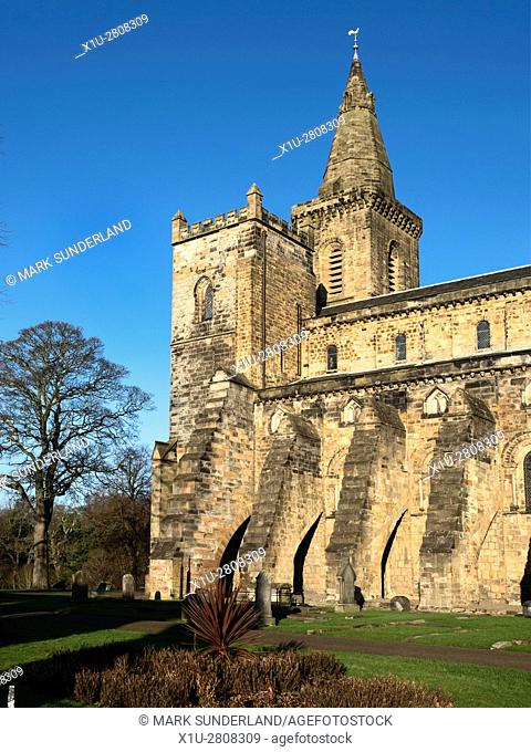 Tower and Spire at the Romanesque Abbey Nave Dunfermline Abbey Dunfermline Fife Scotland