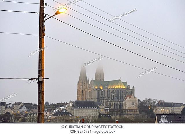 cathedrale Notre-Dame dominant la ville de Chartres, departement d'Eure-et-Loir, region Centre-Val de Loire, France, Europe/Cathedral of Our Lady of Chartres