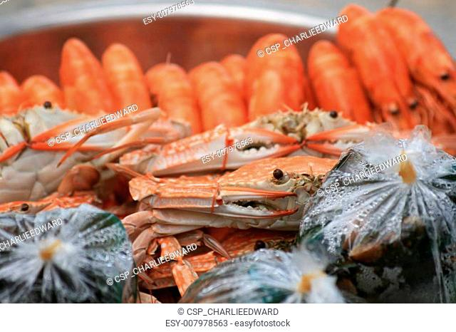 Cooked crabs and prawns, Thailand