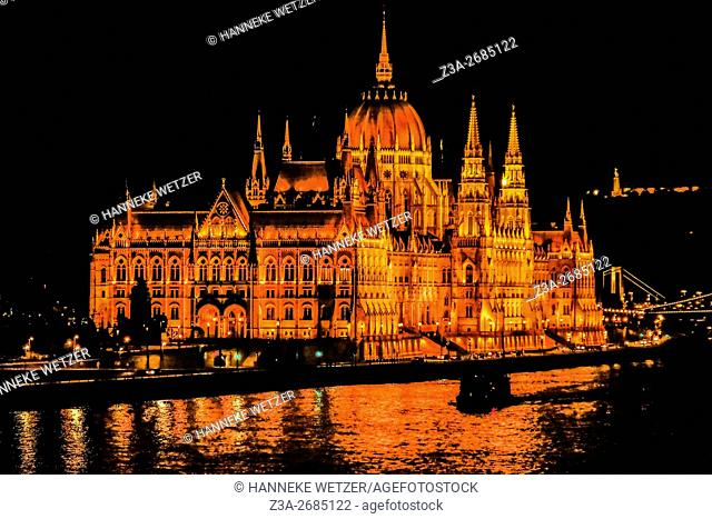 Nightview on the Parliament building in Budapest, Hungary