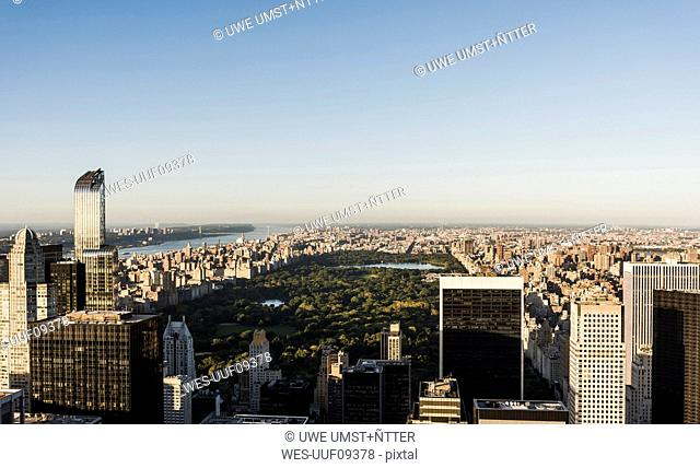USA, New York City, cityscape with Central Park as seen from Rockefeller Center observation deck