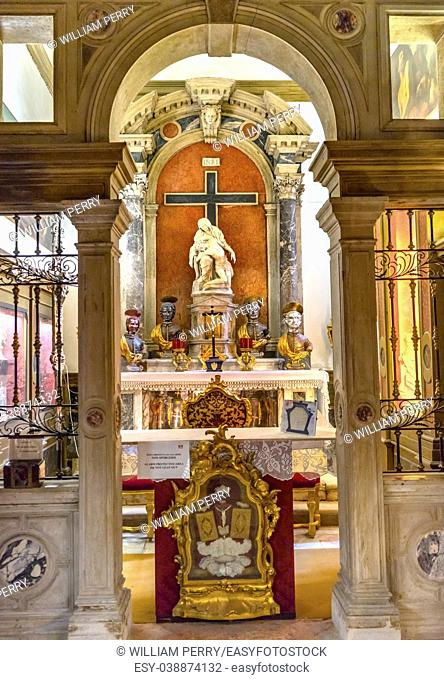 Santa Maria Giglio Zobenigo Church Pieta Statue Altar Basilica Venice Italy. Founded in the 9th Century Rebuilt in 1600s