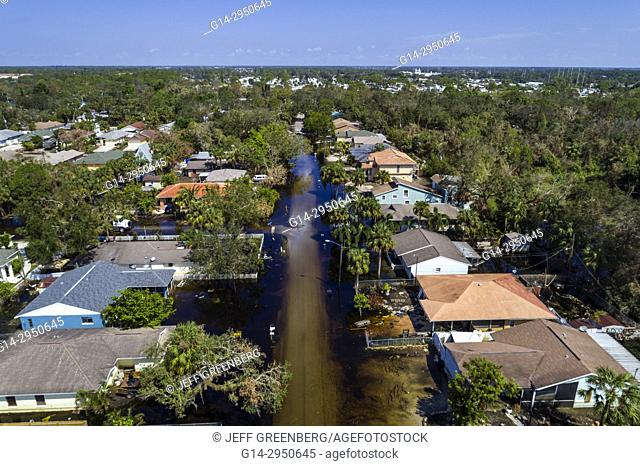Florida, Bonita Beach, Chapman Avenue Quinn Street, flooding flood, Hurricane Irma, aerial overhead bird's eye view above, homes houses residences