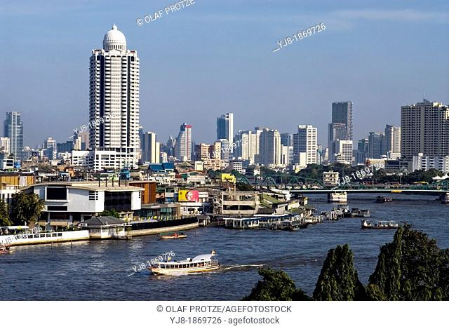 View from Wat Arun  'Temple of the Dawn' across the Chao Phraya River, Bangkok, Thailand