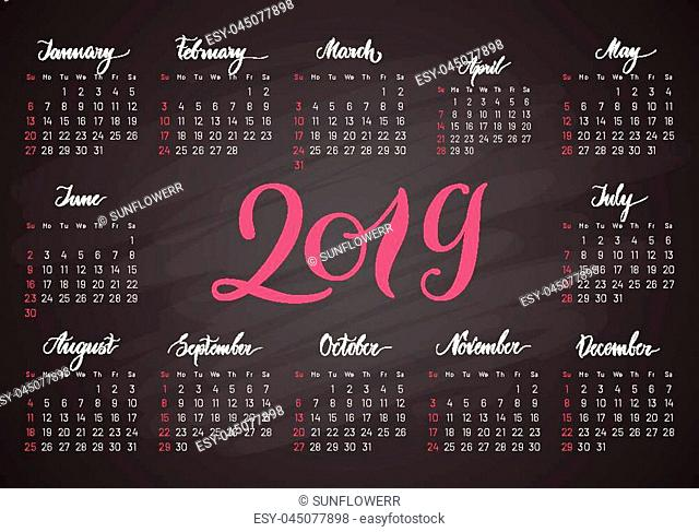 Pocket calendar, 2019, in dark colors, lettering. Convenient organizer for business people and so on. Vector illustration of menology