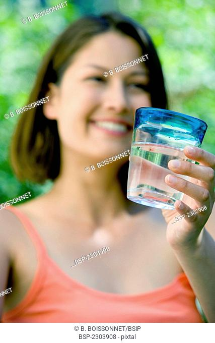 WOMAN WITH COLD DRINK Model