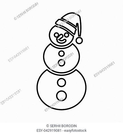 Snowman it is black icon . Flat style