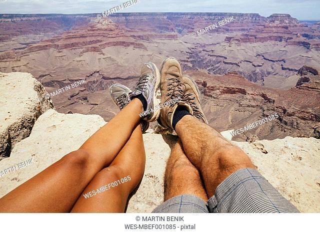 USA, Arizona, couple enjoying the view at Grand Canyon, partial view