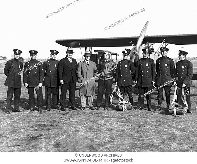 New York, New York: c. 1928 Nine New York policemen will form the nucleus of the first Air Traffic Squad.They will be trained by trans-Atlantic pilot