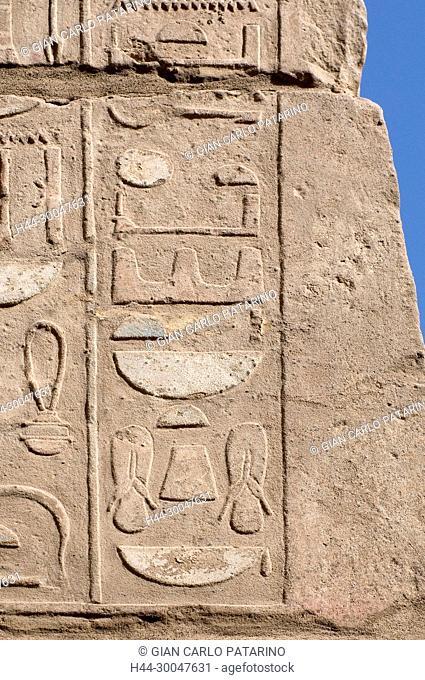 Luxor, Karnak, Egypt.Temple of Karnak sacred to god Amon: sculptures in a wall
