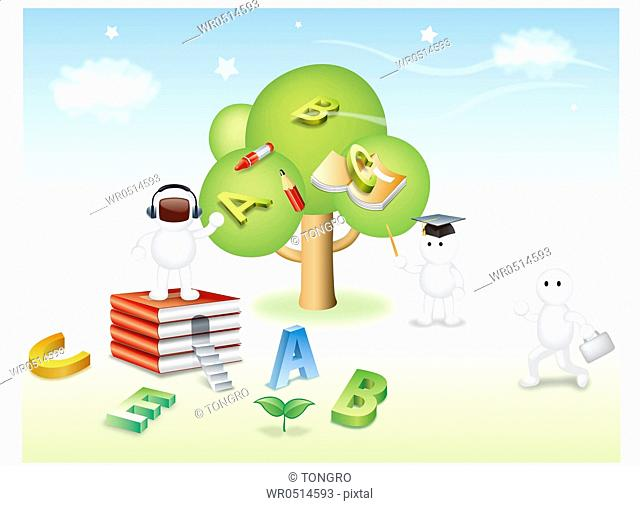 Characters With Books And A Tree