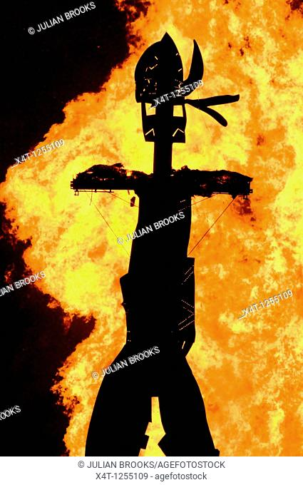 silhouette of the wicker man burned at the Oxford Round Table Fireworks Display, 2010, made by Dan Barton, Artist, Editorial use only