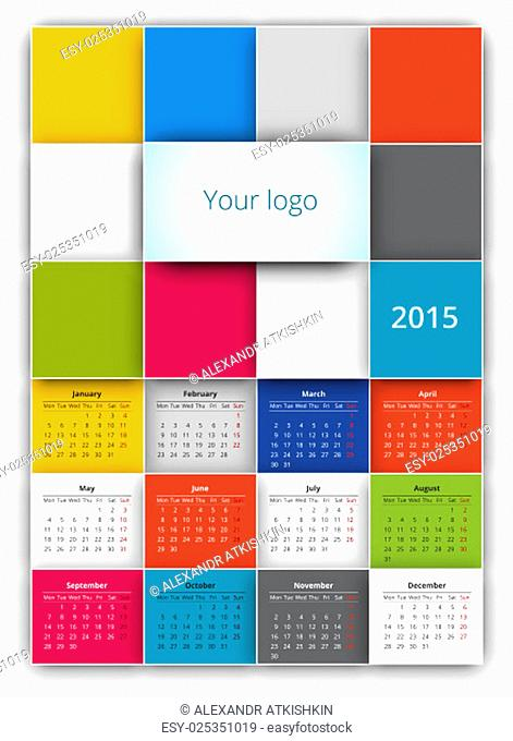 Calendar 2015 vector design template with squares background style. Poster a3-a4 size proportion