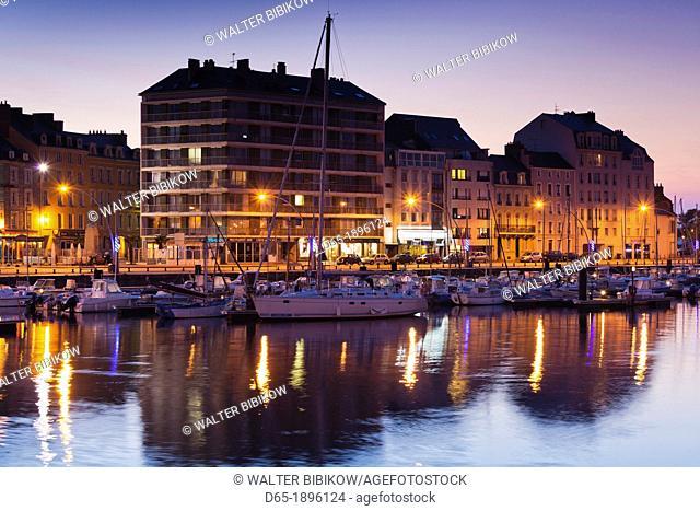 France, Normandy Region, Manche Department, Cherbourg-Octeville, buildings of the Avant Port, dusk