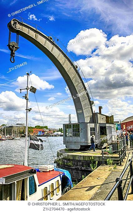 Stothart & Pitt Steam Crane in Bristol City docks England UK