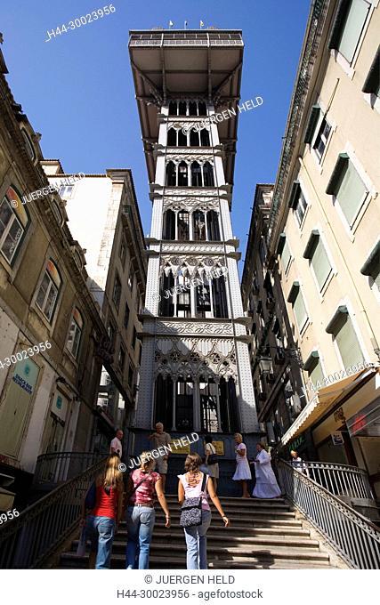 Portugal, Lisbon, Portugal, Lisbon,Baixa Chiado Elevator de Santa Justa in . Built in 1902 by Raul Mesnier du Ponsard , new gotic style