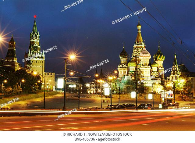 Moscow, Russia, Kremlevskaya Nab, Kremlin Walls, at twilight, with traffic, rush hour, car light streaks