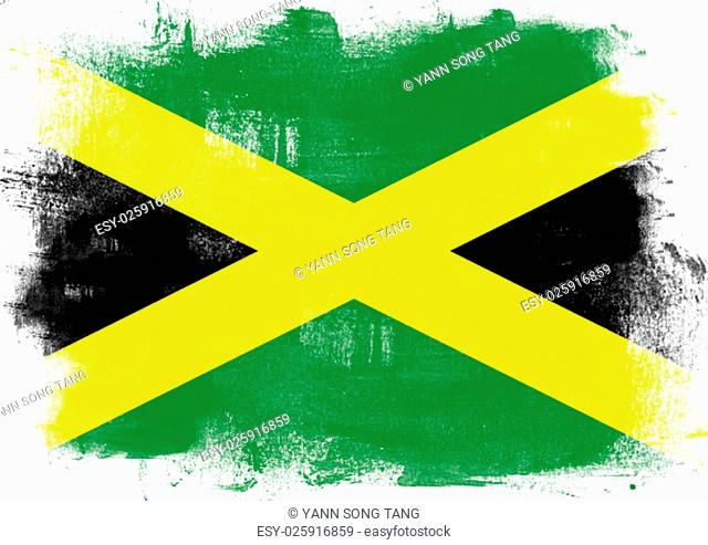 Flag of Jamaica painted with brush on solid background